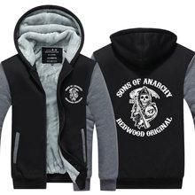 Sons of Anarchy Samcro Jax Winter Thick Hoodie Fleece Sweatshirt Hoodie Coat  Pullover US EU Size Plus Size