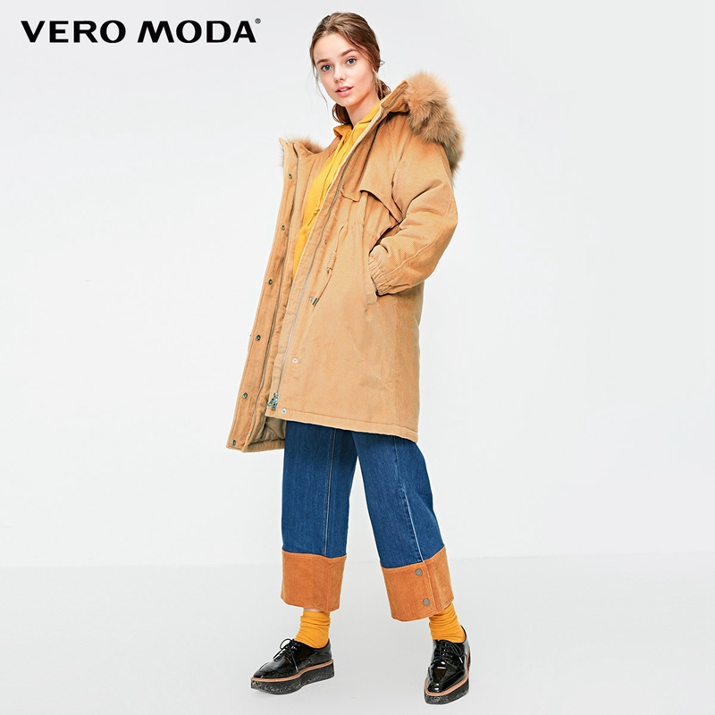 Vero Moda 2019 New Detachable Fox Fur Collar Corduroy Outwear Oversize Padding Parka Coat  318422508-in Parkas from Women's Clothing    1
