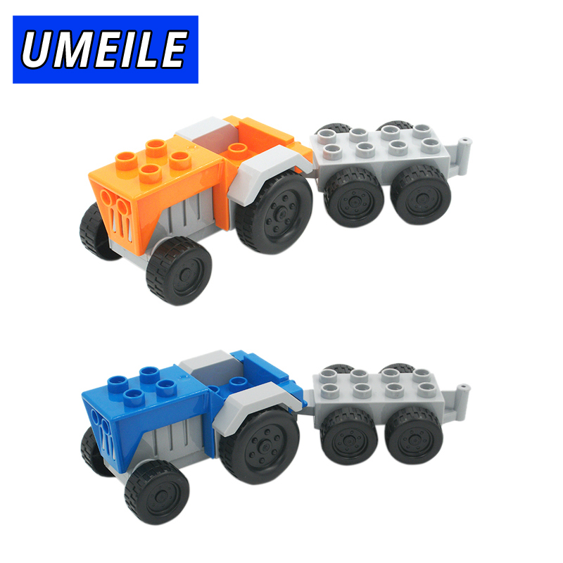 UMEILE Brand Original Classic City Tractor Wagon Model Block Educational Kids Toys Paly House Game Gift Compatible with Duplo umeile original classic city engineering ladder truck fire engine model car block kids educational toys compatible with duplo