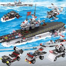 6 in 1/8 1 City Police Series Building Blocks Marine Navy Warship /Figures/Tank/ Aircrafted Role Play Educational Toy For Kid