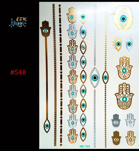 1PC Flash Metallic Waterproof Tattoo Gold Silver Women Henna Evil Eye Hand Chain Bracelet Temporary Tattoo Sticker Paster