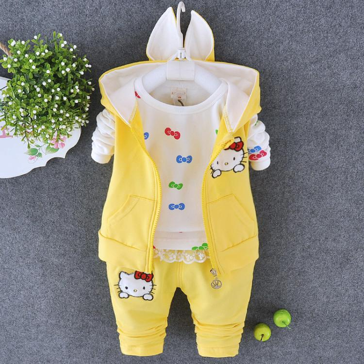 Fall Winter Baby Infant Kid Set Girls Waistcoat + Tops Pant hello kitty clothes for children Clothing Sweater Suit