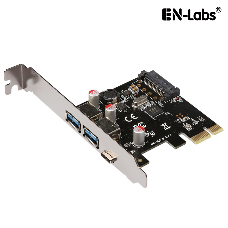 En-Labs USB 3.1 GEN 1(5Gbps)Type-C + 2 USB 3.0 Type-A PCI-e Express Card Desktop PCI Express Add On Card Adapter,Power by SATA