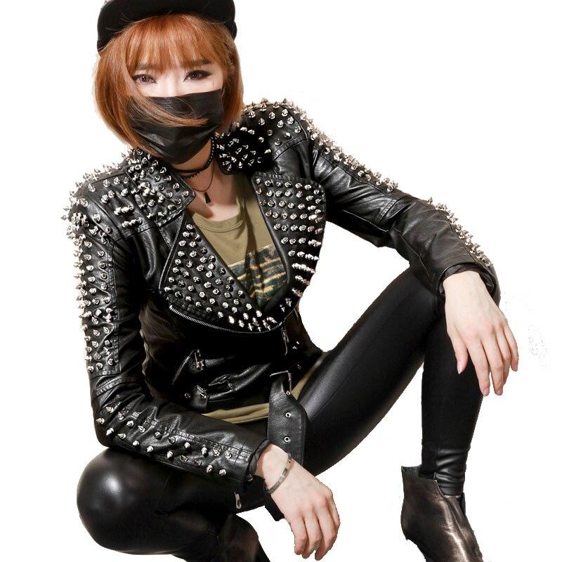 Cuir Femme Pu Rivet Et Hiver Rock Paragraphe Slim Européen Veste Moto Court En Black Américain Nouvelle Punk Femmes Automne fvqPHx