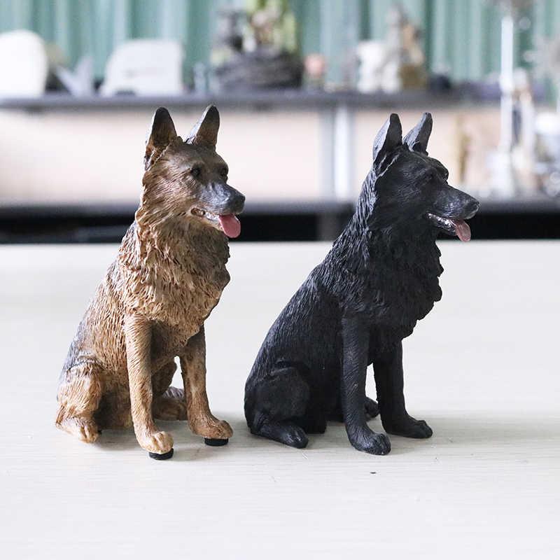 סימולציה גרמנית רועה דגם רועה זאב כלב שחור בחזרה מכונית קישוט שרף מלאכות צלמיות מיניאטורות קישוט מלאכות