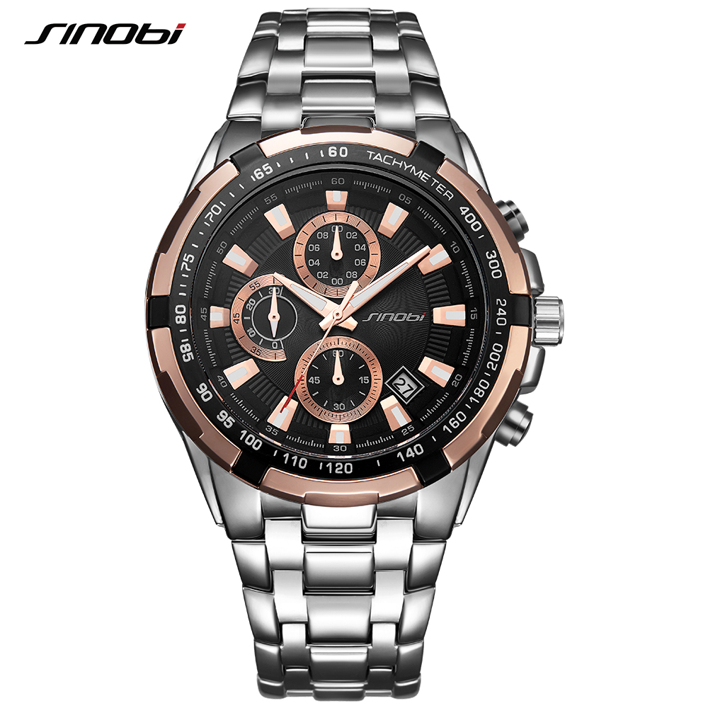 SINOBI Relogio Masculino Chronograph Mens Watches Top Brand Luxury Fashion Business Quartz Watch Man Sport Waterproof Wristwatch