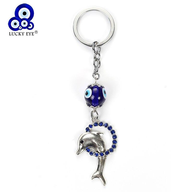 Lucky Eye Blue Evil Eye Dolphin Keychain Crystal Animal Pendent Key Chain Car Key Chain For Women Men Jewelry EY4931