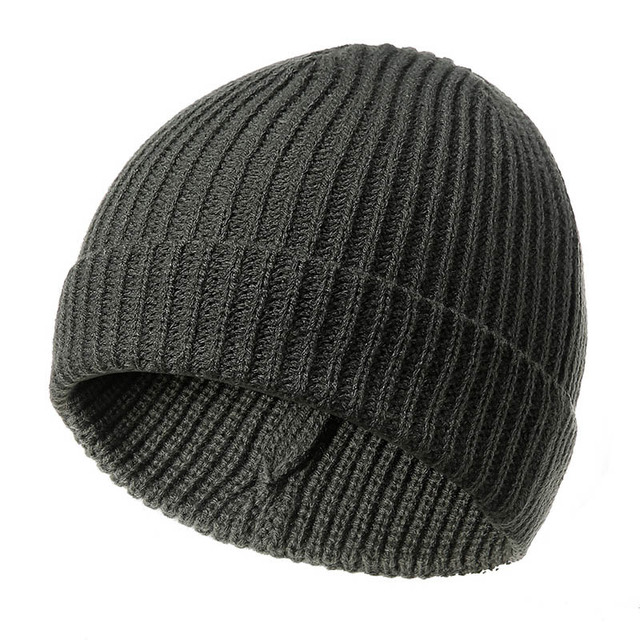 Fisherman Beanie Ribbed Hat Cap Winter Warm Turn Up Retro Mens