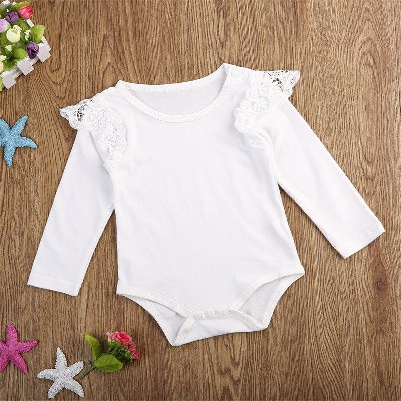 Newborn Baby Girls Infant Kids Clothes Lace Ruffle Long Sleeves Solid Cotton Bodysuit Outfits 0-24M