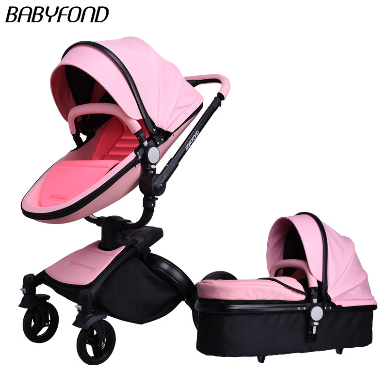 Free Ship! Original Babyfond Baby Stroller Golden Frame All Leather 360 High View Car 2 In 1 Baby Pram Extra Gifts Send