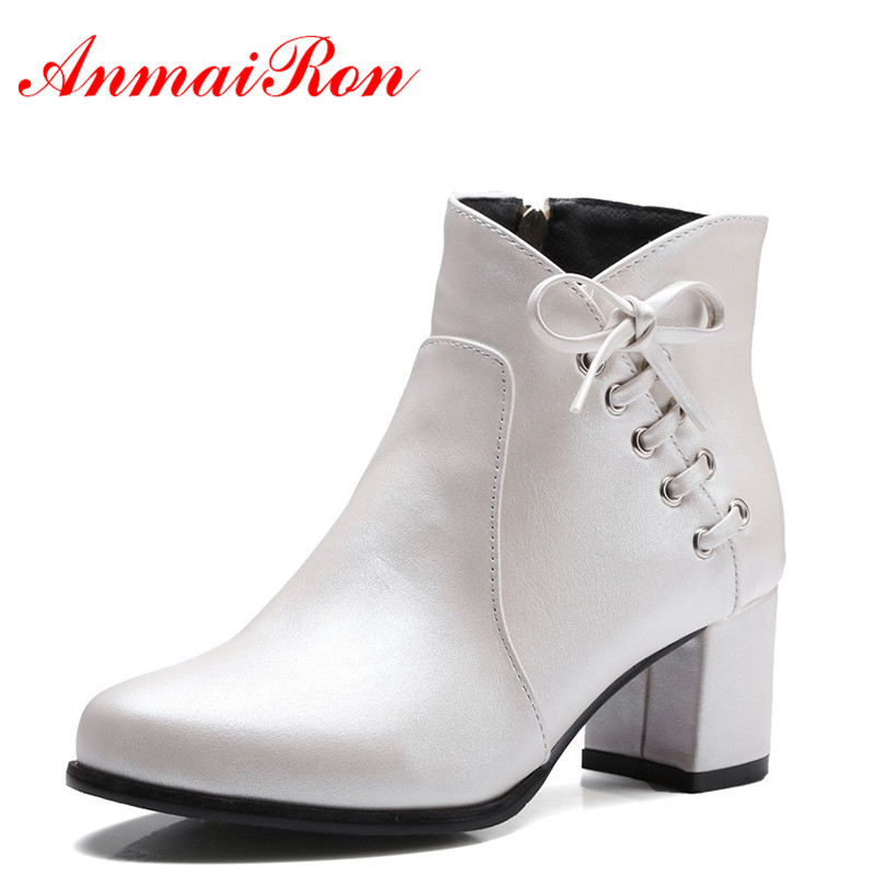 ANMAIRON 4 Colors White Shoes Woman High Heels Zippers Bowties Charms Size 34 43 Motorcycle Boots