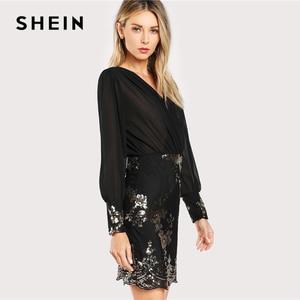 Image 2 - SHEIN Black See Through Wrap Floral Sequin Bodice Party Dress Women 2019 Spring V Neck Long Sleeve Sheath Slim Elegant Dresses