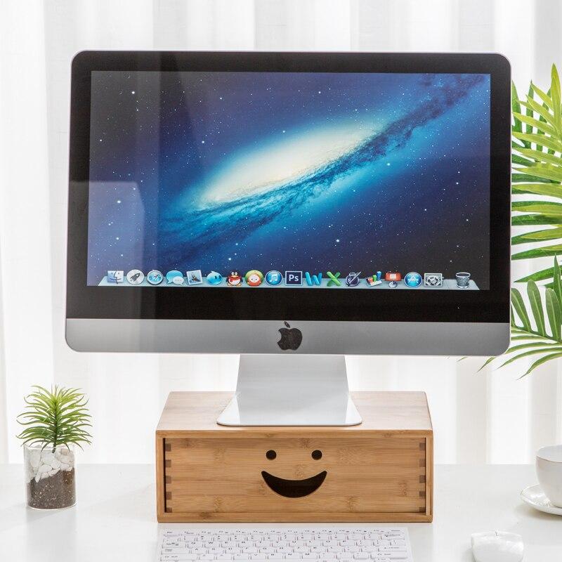 Смайл офисный компьютер бамбуковая стойка коврик Высокая Настольная подставка для хранения дисплей экран полка мульти коробка для хранения маленькая мебель - 2