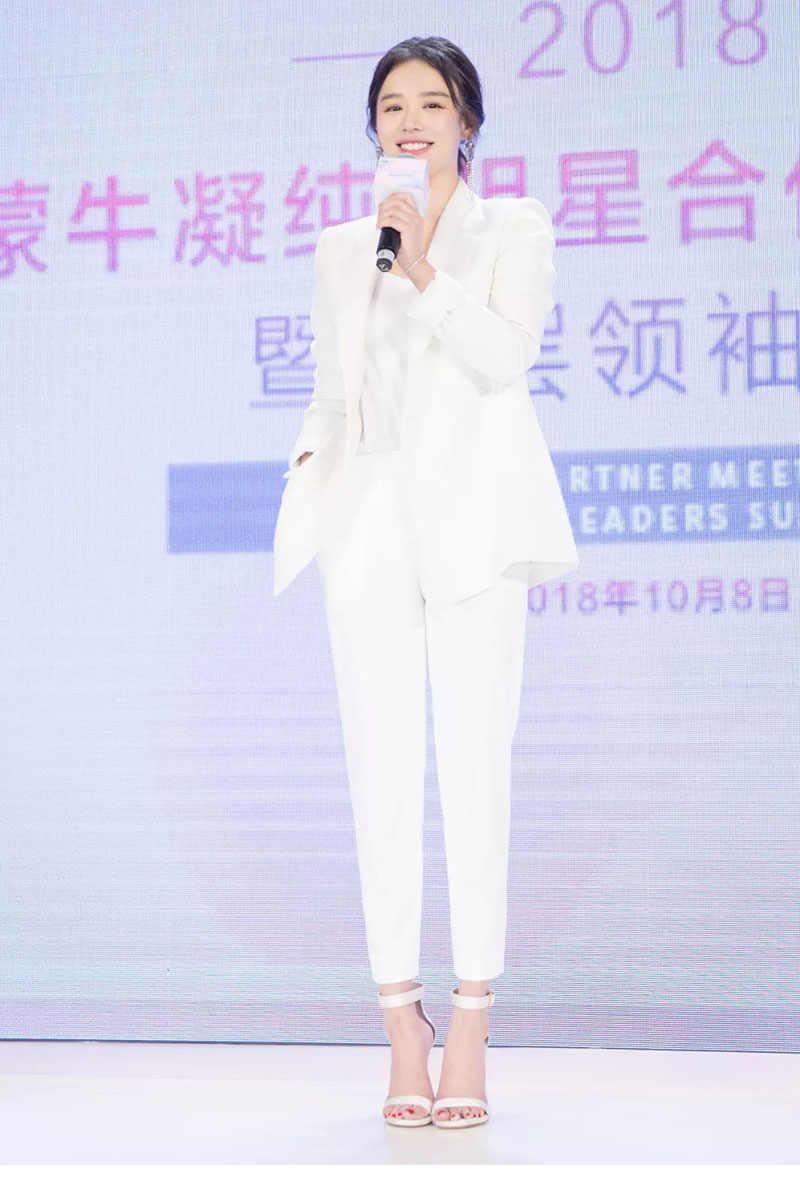女性スーツオフィスセットカジュアル高品質エレガントな白ブレザー 2019 秋の新女性のスーツのズボンとジャケットセット
