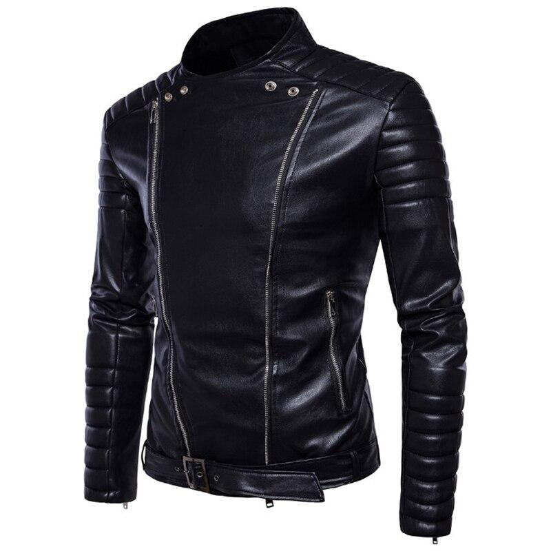 Classique noir moto en cuir veste hommes nouveau Style britannique multi-zipper veste décontracté cuir casual Biker veste mâle manteau 5XL - 3