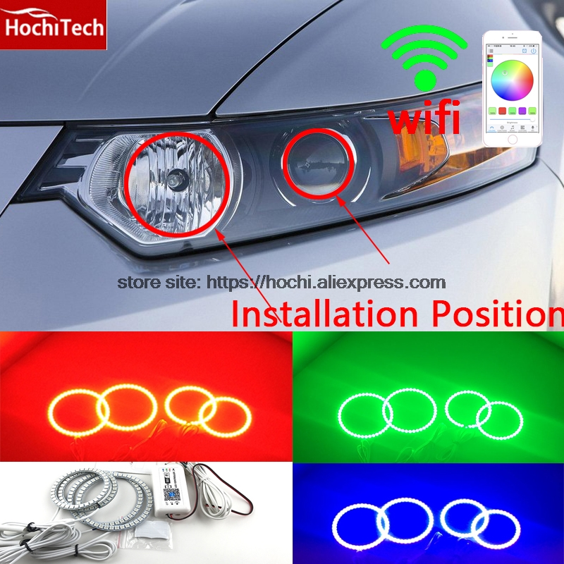 HochiTech Excellent RGB Multi-Color halo rings kit car styling for Acura TSX 2009-2012 angel eyes wifi remote control hochitech rgb multi color halo rings kit car styling for bmw 3 series e90 05 08 halogen headlight angel eyes wifi remote control