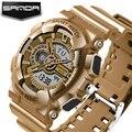 SANDA Marca Homens Resistente Ao Choque Ouro Casual Relógios de Quartzo Dos Homens Do Esporte Militar Relógios homens LED Relógio Digital Homens reloj hombre