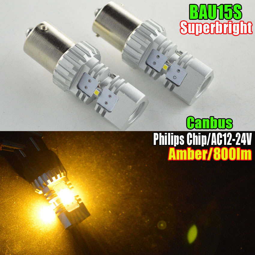 2x PY21W BAU15S Amber/Yellow High Power ZES CHIP Built-in Canbus Backup Reverse Light Front Sidemarker Turn Signal Tail 12V/24V