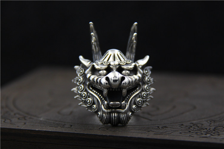 C&R 925 Sterling Silver Rings for men Fine Carved retro Dragon Head ring men Thai Silver ring Fine Jewelry Size 8-11 Adjustable