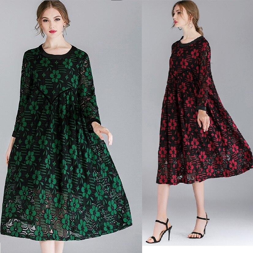 New2019 Lente kanten Jurk elegante losse Bloemen een stuk Jurk plus size lange mouwen twee kleuren kant lange casual vestidos XXXXL-in Jurken van Dames Kleding op  Groep 1