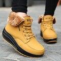 2016 Ankle Boots de Peles Artificiais Moda Senhoras Lace-Up Tornozelo Plataforma Balanço Cunhas Bota Botas de Inverno Quente sapatos de Salto Alto sapatos Mulher