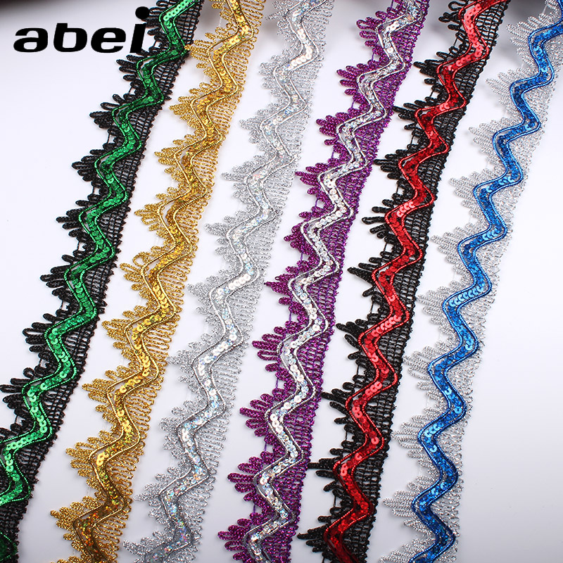 Home & Garden Sincere 35mm 5yards Zigzag Gold Sequins Lace Ribbon For Garments Edge Wrapping Wedding Party Dress Cosplay Clothes Sewing Lace Trims