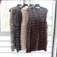 2018 New Arrival Women Knitted Rabbit Fur Waistcoat Long Vest Fashion Femme Genuine Fur Gilet Spring