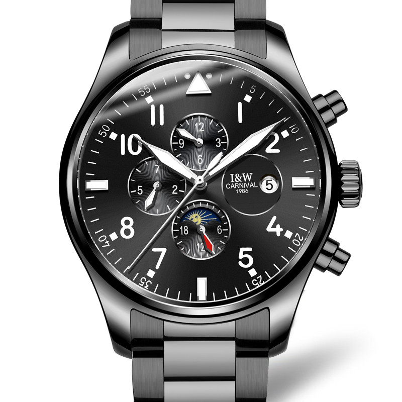 Здесь продается  Carnival Watch Men Moon Phaes Automatic Mechanical Luminous All Black Stainless Steel Waterproof multifunction Watches   Часы