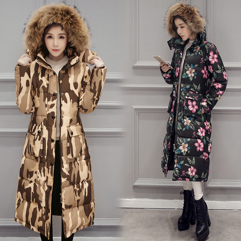 ФОТО Women Long Coat With Fur Collar Lady Slim Fit X long Style Thick Warm Jackets Floral Quilted Bleted Parkas Outerwears