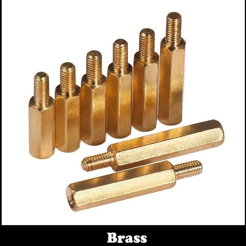 M3 M3*5 M3x5 3 4 5 6 Brass Single End Stud Screw Pillar Male To Female Nut Hex Hexagon Stand off Standoff Stand-off Spacer 100pcs m3 brass hex standoff m3 x 5 m3 5 female to female brass spacer standoff