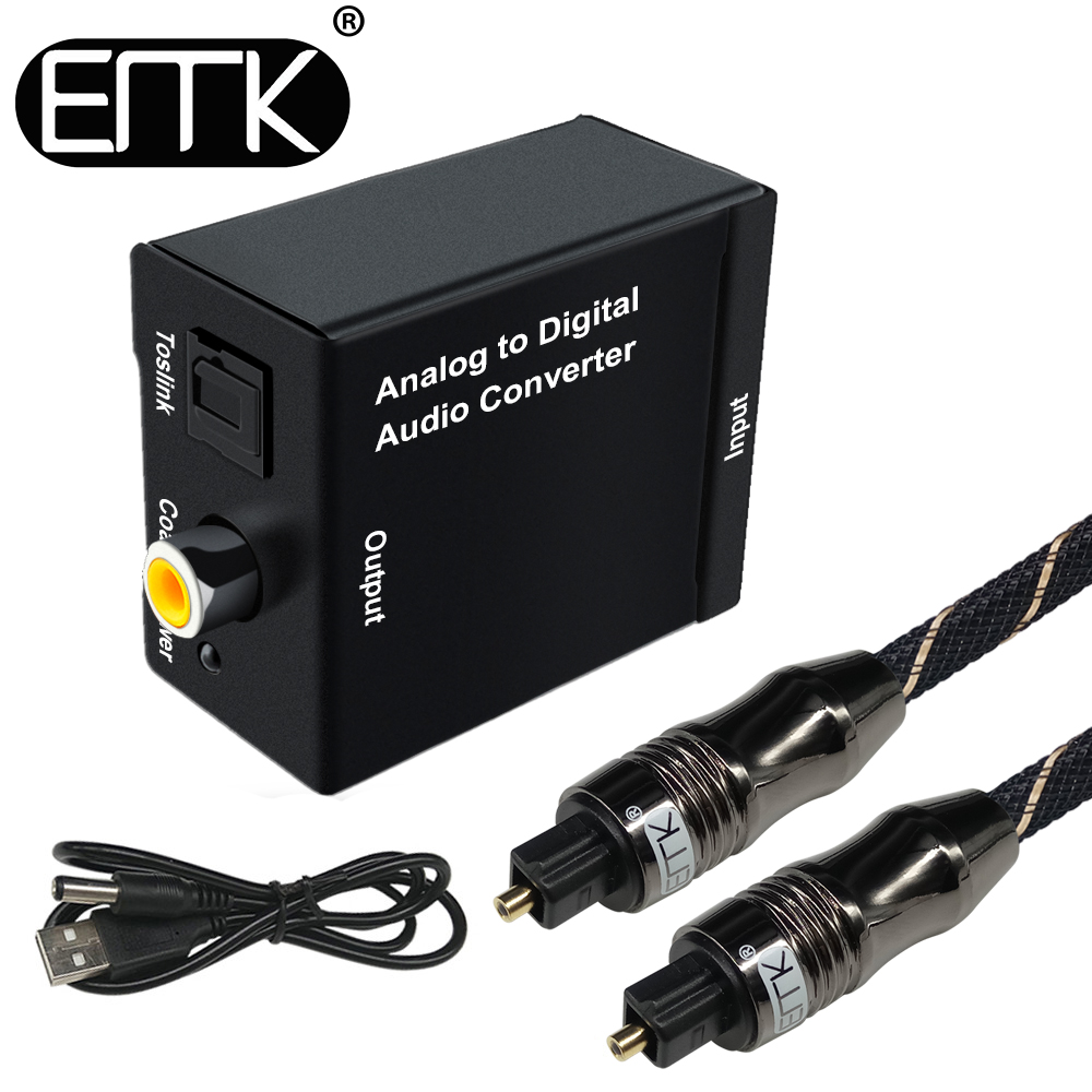 EMK Analog to Digital Audio TV Converter Adapter Optical Fiber Coaxial Toslink Signal Analog Audio Converter RCA for DVD best price digital optical fiber coax coaxial toslink to signal converter adapter audio transverter rca l r with usb cable
