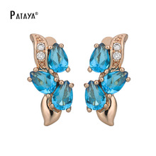 PATAYA 585 Rose Gold Romantic Butterfly CZ Dangle Earrings Light Blue Natural Cubic Zircon Jewelry Women Bohemian Drop Earrings