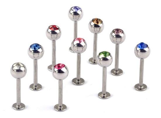 Wholesale 10Pcs/lot Crystal Stainless Steel Lip Piercing Labret Rings I Shape Ear Stud Piercing Tragus Body Jewelry Unisex