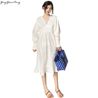YingYuanFang Real shot new fashion V neck Lantern sleeves waist long long super fire dress