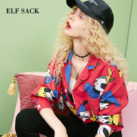 ELF SACK Autumn New Fashion Women Shirt Cotton Casual Full Duck Print Chiffon Blouse Women Shirt Turn down Collar Female Shirt
