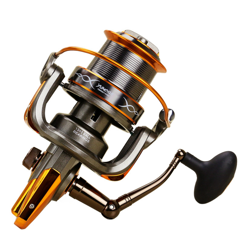 13+1BB Gear Ratio Up to 4.6:1 Spinning Fishing Reel with Exchangeable Handle Automatic folding for Casting Line 8000-9000size nunatak original 2017 baitcasting fishing reel t3 mx 1016sh 5 0kg 6 1bb 7 1 1 right hand casting fishing reels saltwater wheel