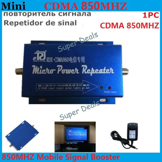 ¡ Venta caliente! Mini GSM 850 MHz Ganancia 60dBi RF Repetidor GSM CDMA Amplificador de Señal Celular Repetidor de sinal Amplificador + Cargador de la Energía