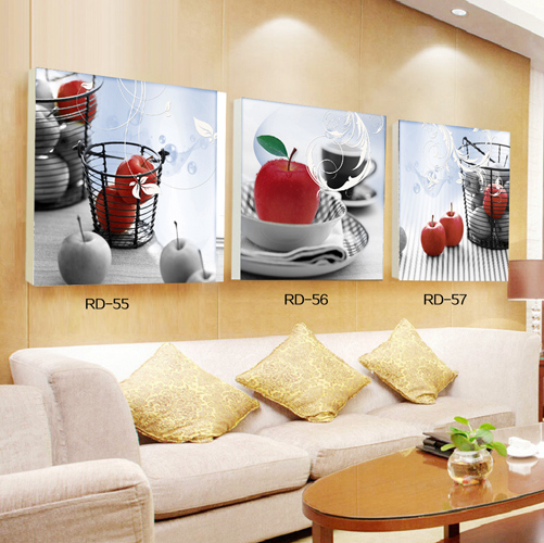 Hot Sell 3 Pcs Canvas Painting Apple Modern Wall Pictures For ...