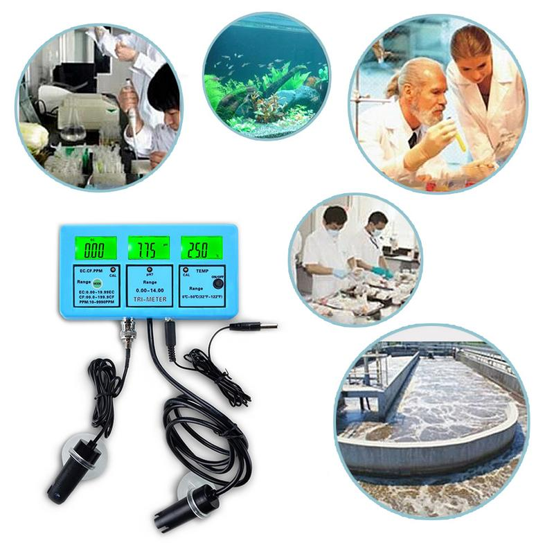 Water Quality Analysis Tester Monitor Multi Parameter Aquarium Water Meter For Test PH/Temperature/EC/CF/ TDS Kits
