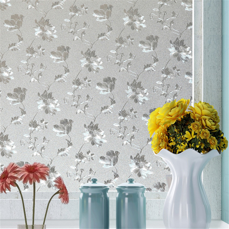 60cm*200cm Frosted Privacy Glass Window Film Static Cling Removable Embossed Pure White For Office Bathroom Decorative Film