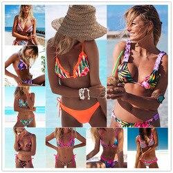 2019 New Ruffle Bikinis Women Swimsuit Cross Bandage Swimwear Push Up Bikini Set Beach Bathing Suit Brazilian Biquni Print