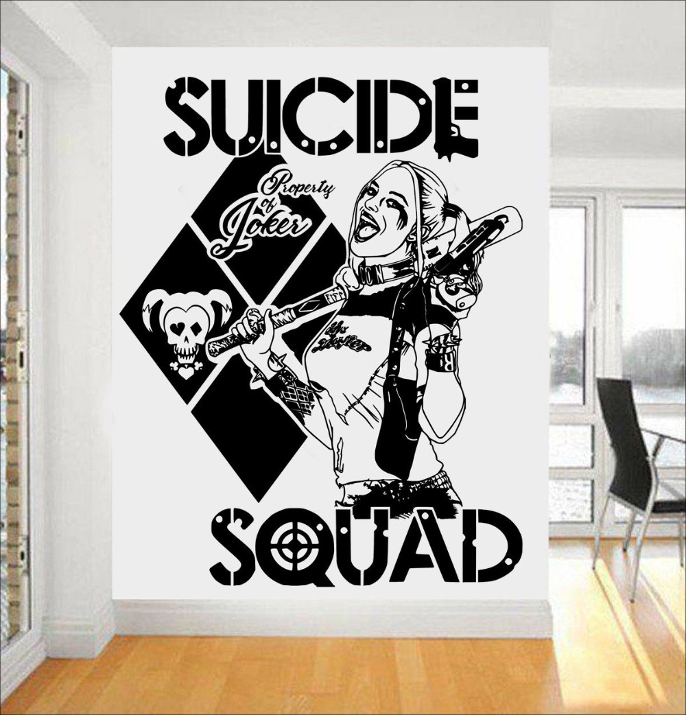 Harley color carpet tiles - Task Force X Wall Stickers Quotes Suicide Squad Harley Quinn Vinyl Art Mural Home Sweet Cool Decal Special Design Decor Syy454