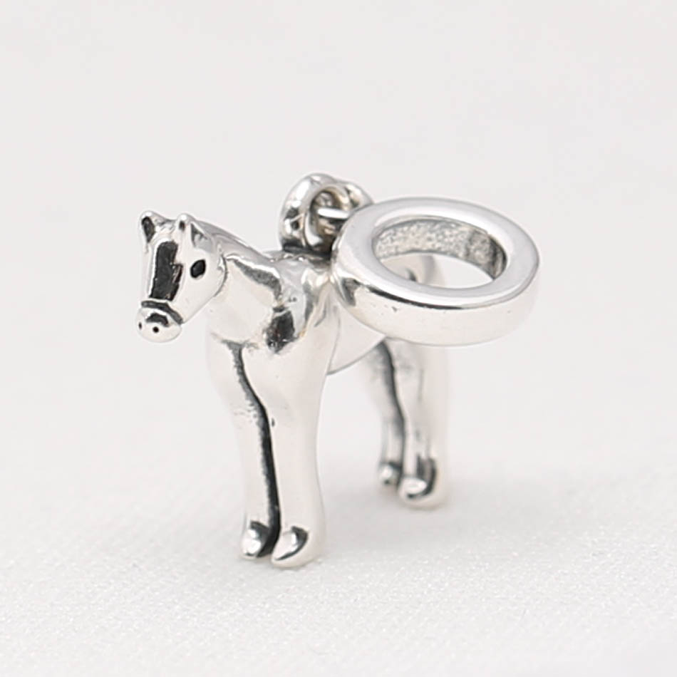 Beads & Jewelry Making Gentle Authentic 925 Sterling Silver Diy Jewelry Cute Horse Dangle Charm Fit Pandora Bracelet Bangle Girl Gift Bead