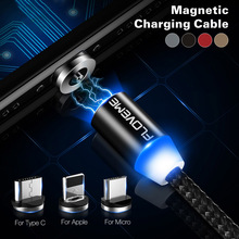 FDBRO LED Magnetic Charger Cable Micro USB Type C USB-C 1m 2A Short Usb Charging Magnet For iPhoneX Samsung