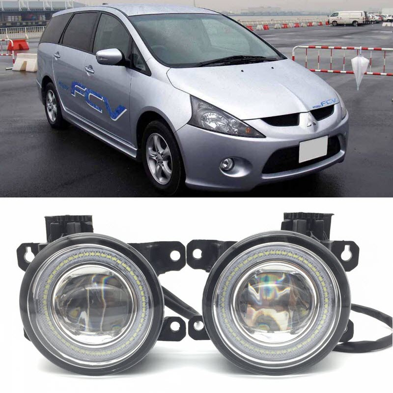 For Mitsubishi Grandis 2004-2012 2 in 1 LED Angel Eyes DRL Daytime Running Lights Cut-Line Lens Fog Lights Car-Styling car styling 2 in 1 led angel eyes drl daytime running lights cut line lens fog lamp for land rover freelander lr2 2007 2014