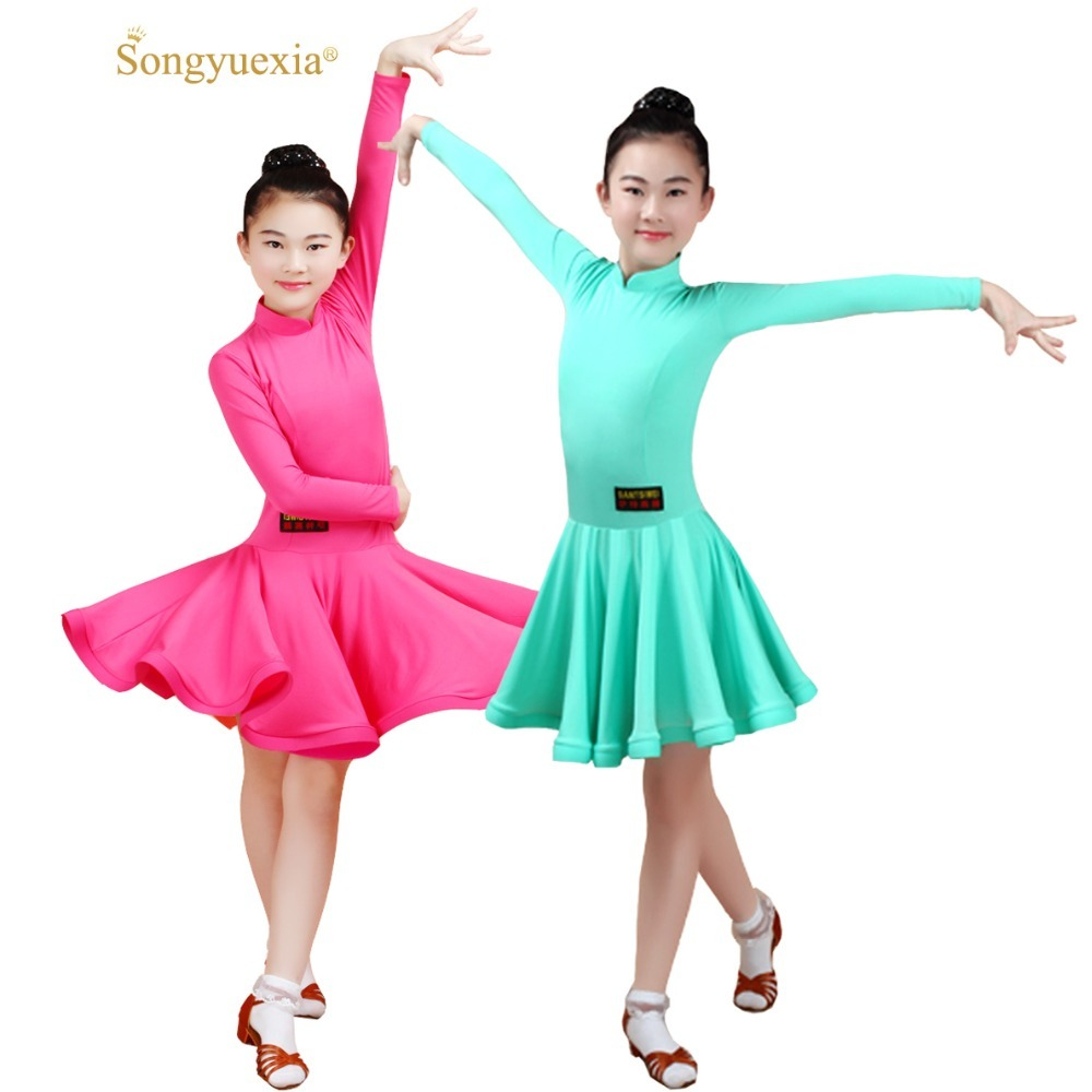 Children Dance Dress Examination Serve Lading Dance Skirt Show Serve A Juvenile Practice Clothing Long Sleeve Regulations Serve