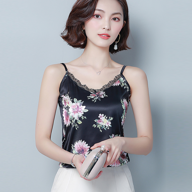 Womens Blouse Tee Lace T shirts Vest Summer 2019 Hot Sale Sexy Vest Fashion Camisole Crop   Top   Sleeveless Floral T-Shirt   Tank     Top