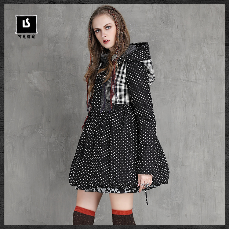 ФОТО 2016 Brand Women Winter Jacket Coat Cotton Padded Plaid Big Code Zipper Parkas Elegant Vintage Hooded Coat Manteau Femme Hiver
