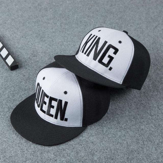 0f56eca9843 Fashion Hot Sale Lovers KING QUEEN Embroidery Snapback Hat Acrylic Men  Women Couple Baseball Cap Gifts Hip-hop Dance Street Caps