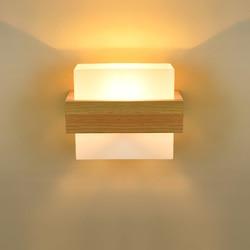 Skandynawski Nordic ścienne z drewna szklany klosz korytarz balkon lampki nocne LED ściany bocznej u nas państwo lampy wnętrza dla Home Decor|Lampy ścienne|   -